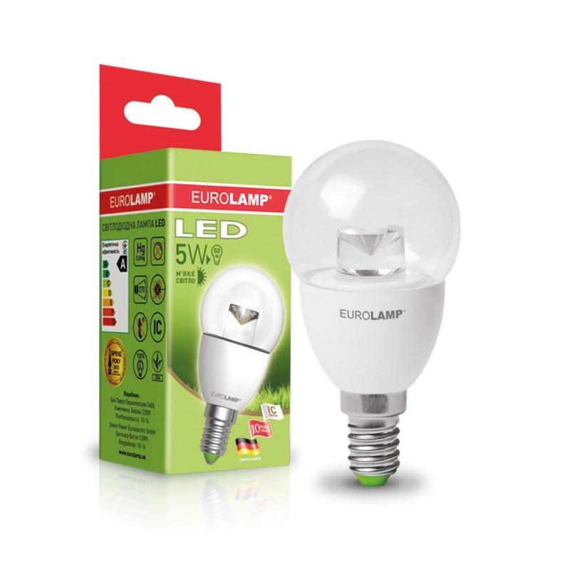 "EUROLAMP LED Лампа ""Шар"" ЕКО G45 5W E14 3000K(прозрачная)"