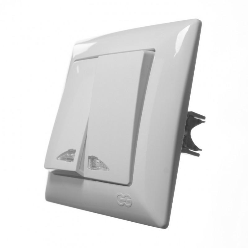 Выключатель двухклавишный GUNSAN с подсветкой Visage белый