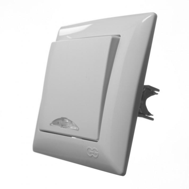 Выключатель одноклавишный GUNSAN с подсветкой Visage белый